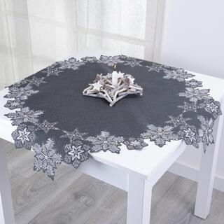 Faţă de masă cu broderie FULGI, 85 x 85 cm