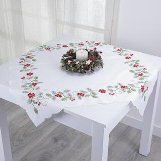 Faţă de masă cu broderie de Crăciun, 85 x 85 cm