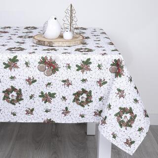 Faţă de masă dreptunghiulară cu model de Crăciun, 140 x 160 cm