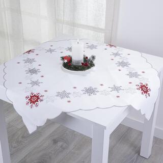 Faţă de masă de Crăciun FULGI ROŞII ŞI ARGINTII, 85 x 85 cm