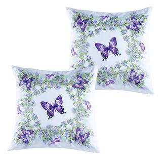 Set de 2 feţe pentru pernuţe FLUTURI violet