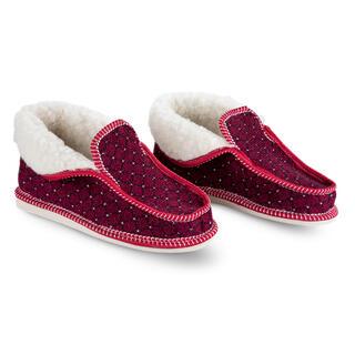 Papuci de casă cu lână de oaie, roşii