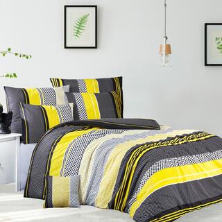 Lenjerie de pat din bumbac ranforce ZIGO, galbenă