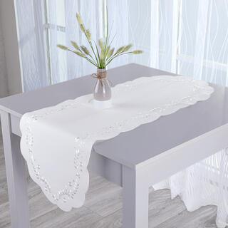 Napron cu broderie albă 40 x 110 cm