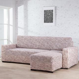 Huse bielastice ROCCIA bej canapea cu otoman dreapta (l. 170 - 200 cm)