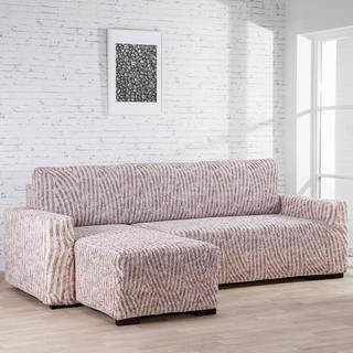 Huse bielastice ROCCIA bej canapea cu otoman stânga (l. 170 - 200 cm)
