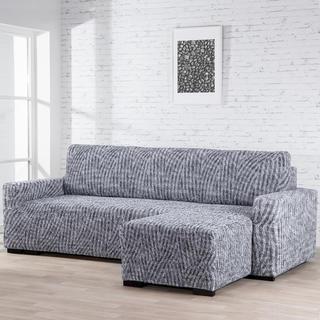 Huse bielastice ROCCIA gri canapea cu otoman dreapta (l. 170 - 200 cm)