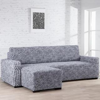 Huse bielastice ROCCIA gri canapea cu otoman stânga (l. 170 - 200 cm)